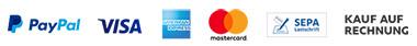 Paypal, Visa, Kreditkarte, Lastschrift, Kauf auf Rechnung